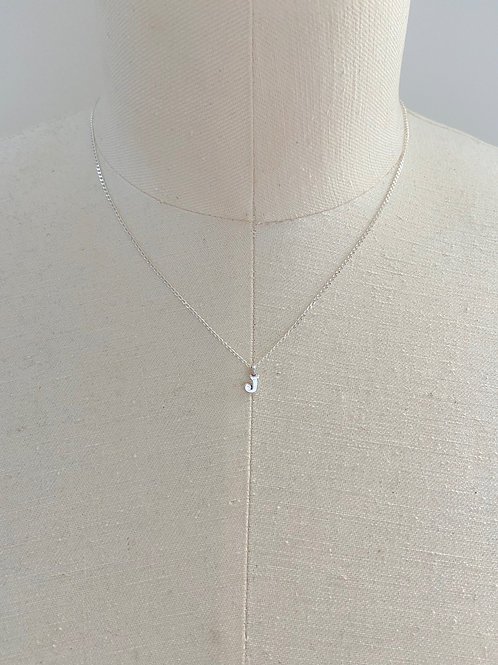 Letter J Small Charm Sterling Silver Chain Necklace