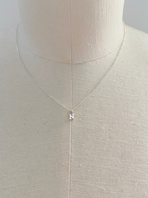 Letter N Small Charm Sterling Silver Chain Necklace