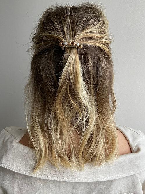 Ginnette Tri-Metal Beaded French Hair Clip