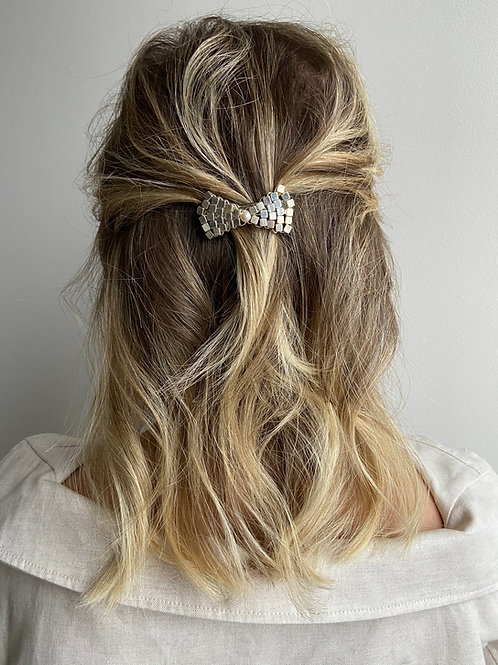 Silver Pearl Bow French Hair Clip
