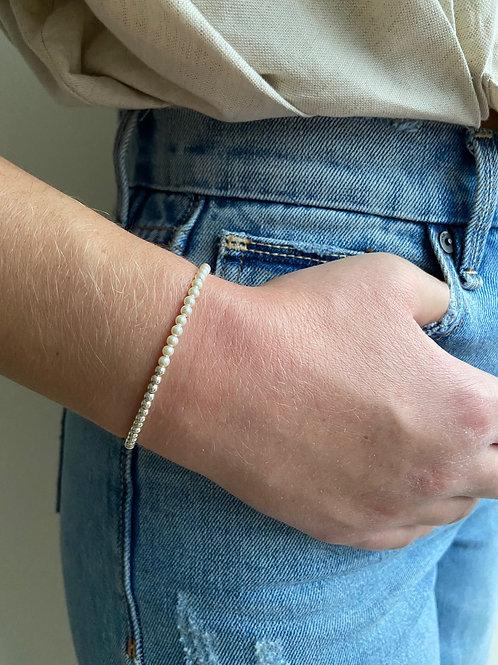 Franca Mini Pearl Silver Beaded Bracelet