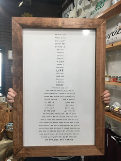 Custom Quote Sign Framed on Whiteboard