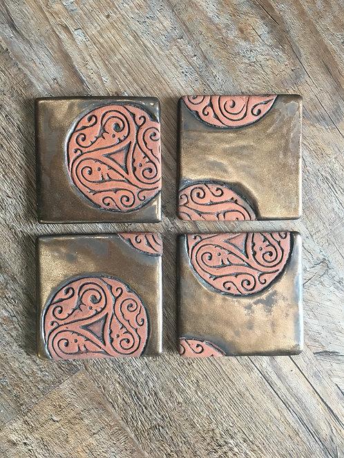 Bronze Swirl Coasters (Set of 4) by Theresa Mustafa