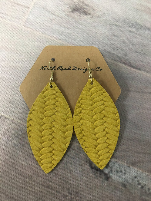 North Road Designs Genuine Leather Braided Yellow