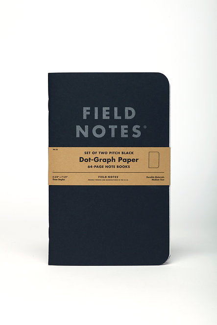 Pitch Black Note Books Dot-Graph Set of 2