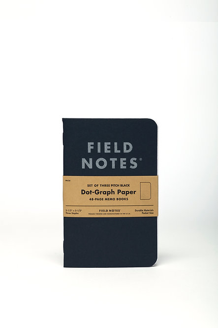 Pitch Black Memo Books Dot-Graph Set of 3