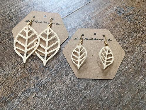 North Road Designs Cream Leaf Earrings