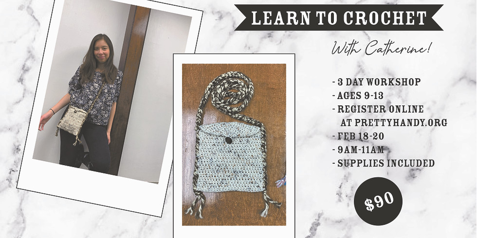 Learn to Crochet with Catherine - 3 Class Drop-Off Workshop (Ages 9-13)