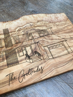 Custom Olivewood Board with House Engraving