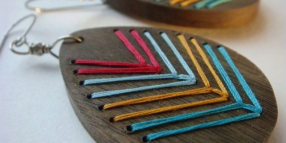 DIY Wood Embroidered Earrings