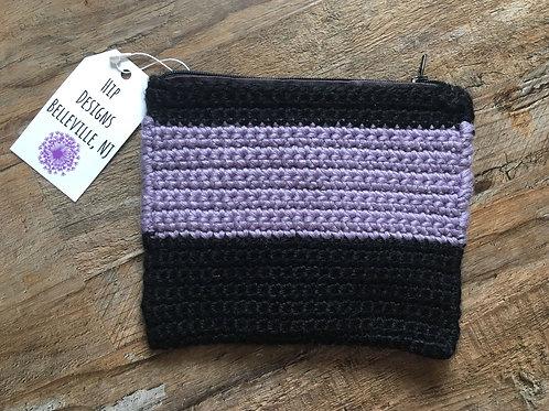 Hip Designs Black/Lavender Knit Pouch