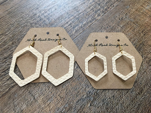 North Road Designs Cream Hexagon Earrings