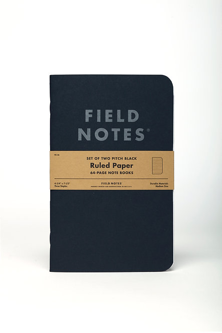 Pitch Black Note Books Ruled Set of 2