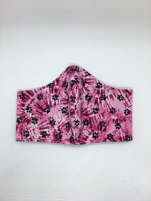 Pink Tie Dye Paw Print Face Mask