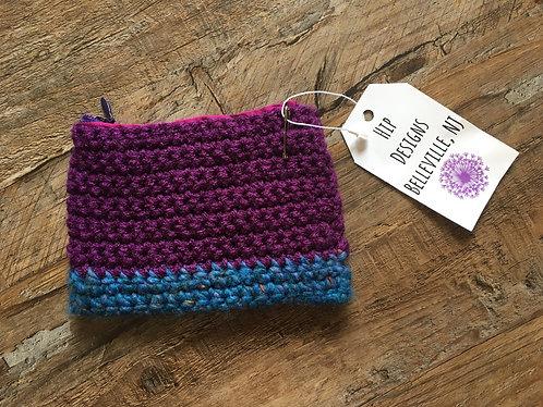 Hip Designs Purple/Blue Knit Small Pouch