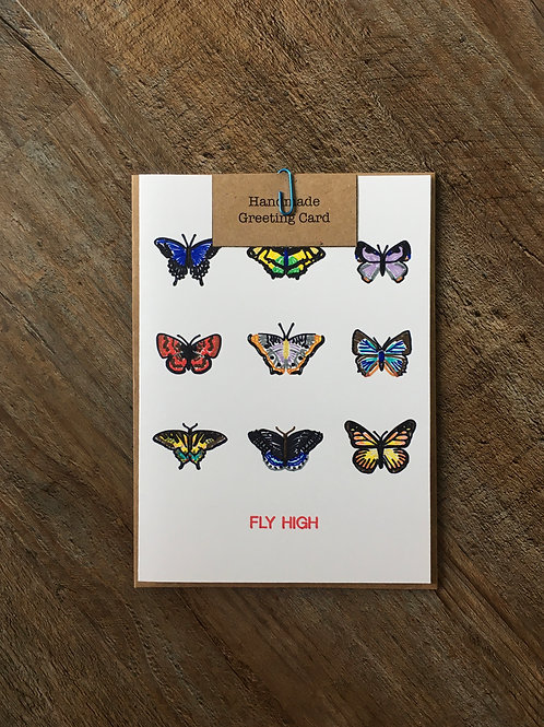 'Fly High' Butterfly Greeting Card