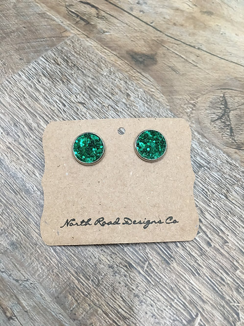North Road Designs Green Sparkle Stud Earrings