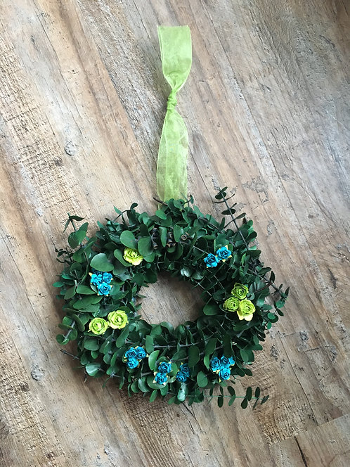 "8"" Eucalyptus Wreath (with Paper Flowers)"