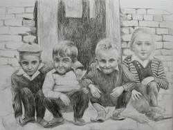 Childhood -  Enfance 1, drawing on paper
