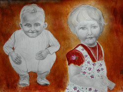Chilhood  Enfance 5, 55x65 cm, mixed med