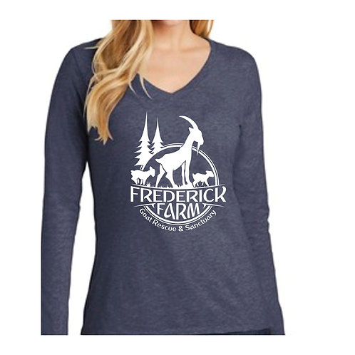 Women's Fitted Heathered Navy Long Sleeve Tee