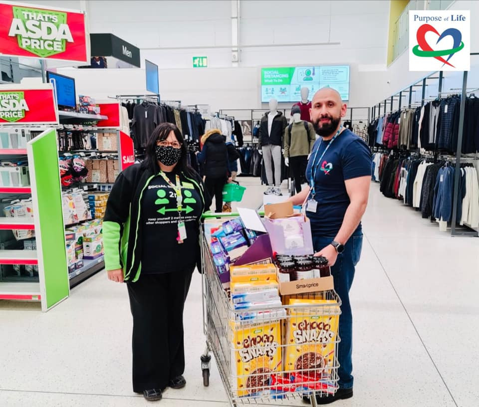 Purpose of life collecting a food bank donation from Asda in Worcester