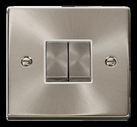 Click Deco Satin Chrome White Insert 10A Plate Switch 2 Gang 2 Way Ingot