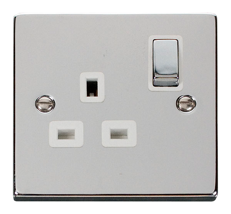Click Deco Polished Chrome White Insert 1 Gang 13A DP Switched Socket Ingot