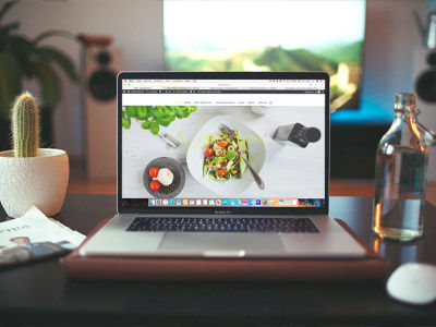 Laptop displaying a web page