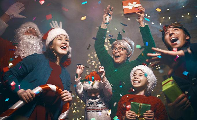 Family enjoying christmas songs