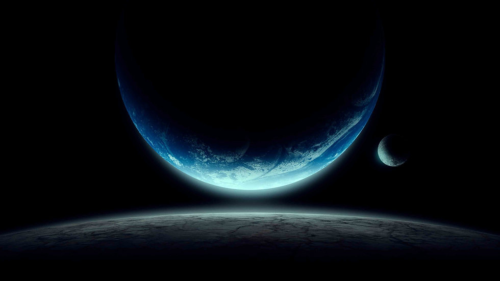 Shot in space, Earth, Moon,