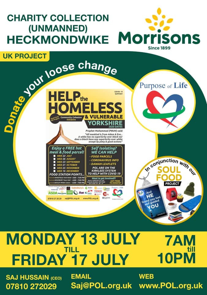 Poster showing Purpose of life advert for helping homeless and needy people in Heckmondwike