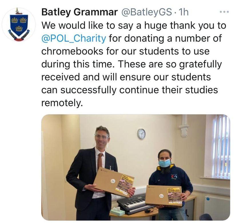 Purpose of life charity donating google chromebooks