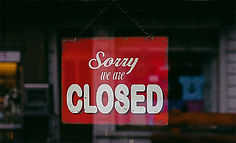 Sorry we are closed sign with red background