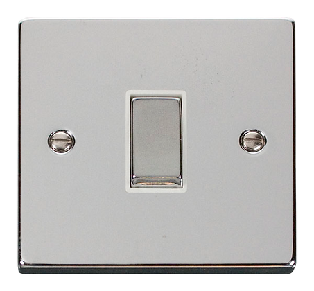 Click Deco Polished Chrome White Insert 10A Plate Switch 1 Gang 2 Way Ingot