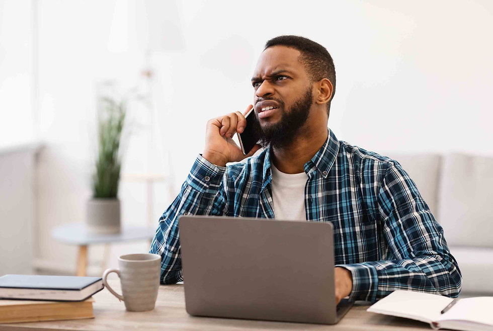 Man getting stressed at customer service