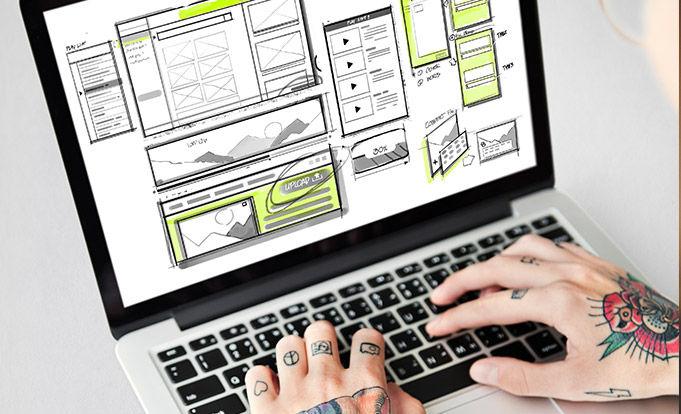 Website development layout on a pc