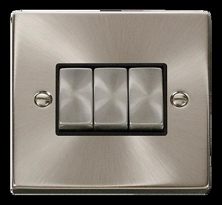 Click Deco Satin Chrome Black Insert 10A Plate Switch 3 Gang 2 Way Ingot