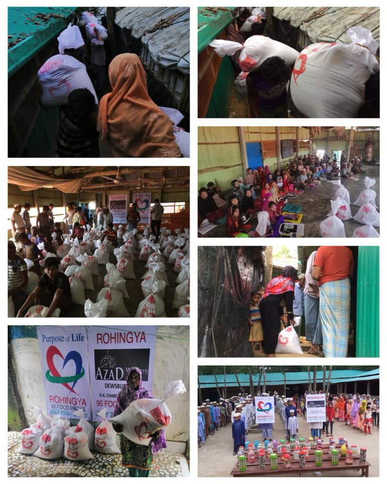 Collection of images showing food being delivered by Purpose of Life Charity to the Rohingya Camps