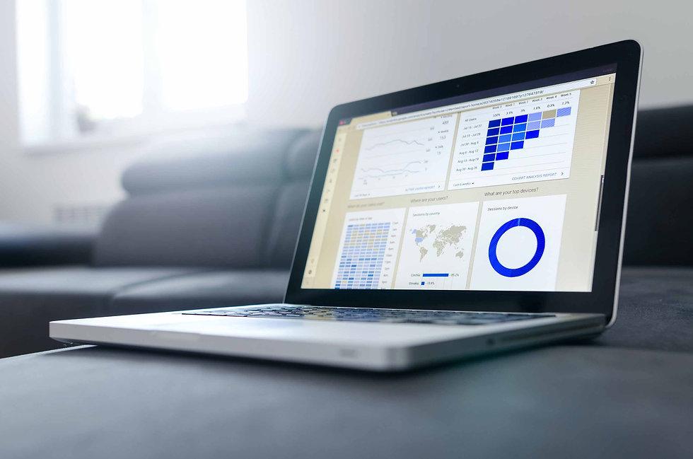 Lap top desplaying Funding Research information