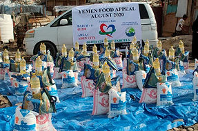 Purpose of Life Van Dropping off various food parcels to the people of Yemen