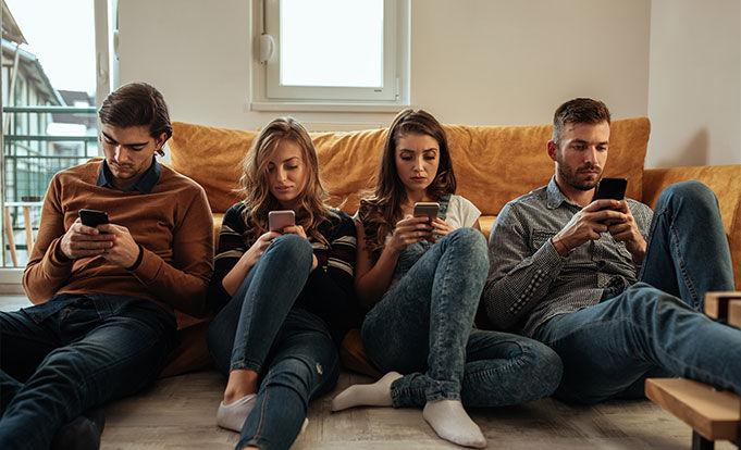People looking at their phones instead of interacting.