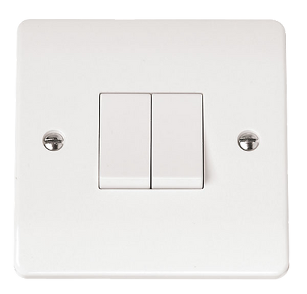 Click Mode 10A Plate Switch 2 Gang 2 Way