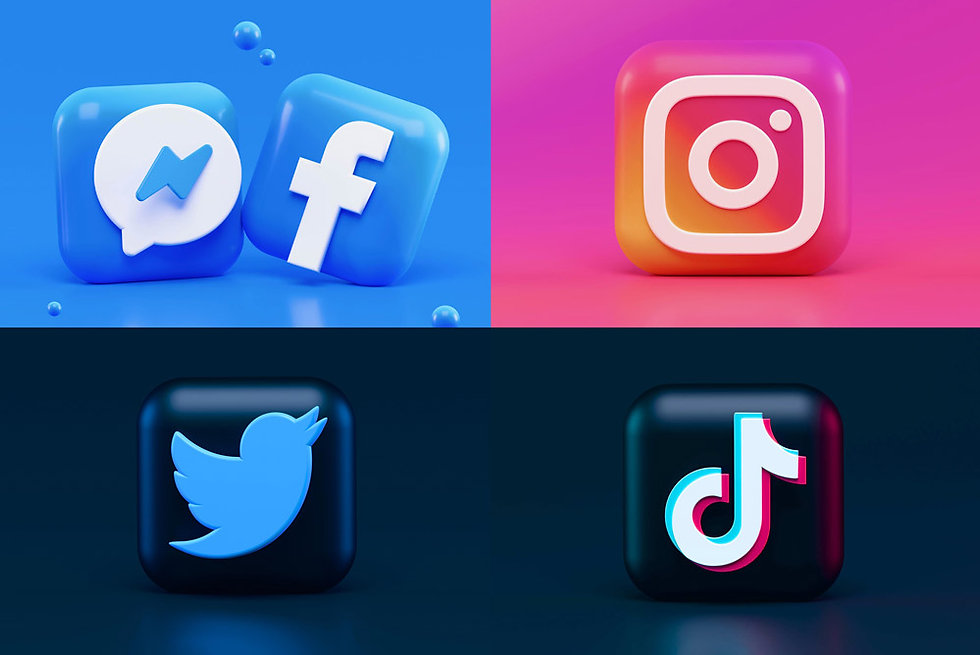 buttons with facebook instagram twitter and ticktok logos