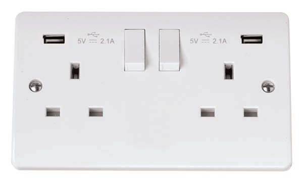 Click Mode 13A 2 Gang Switched Socket with USB 4.2A