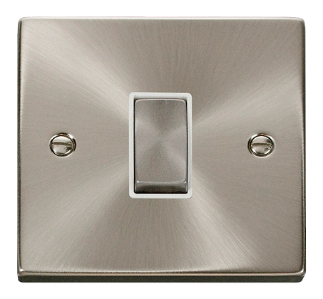 Click Deco Satin Chrome White Insert 10A Plate Switch 1 Gang 2 Way Ingot