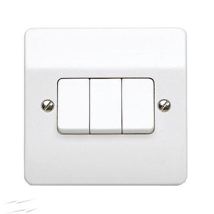 MK K4873WHI Plate Switch 10 Amp Single Pole 3 Gang 2 Way