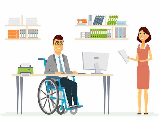 Illustration of Disabled man at work