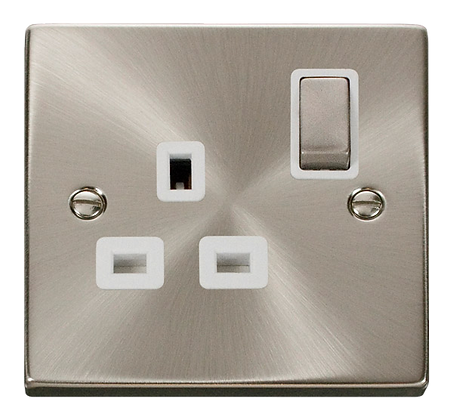 Click Deco Satin Chrome White Insert 1 Gang 13A DP Switched Socket Ingot