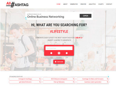 picture of all-hashtag website